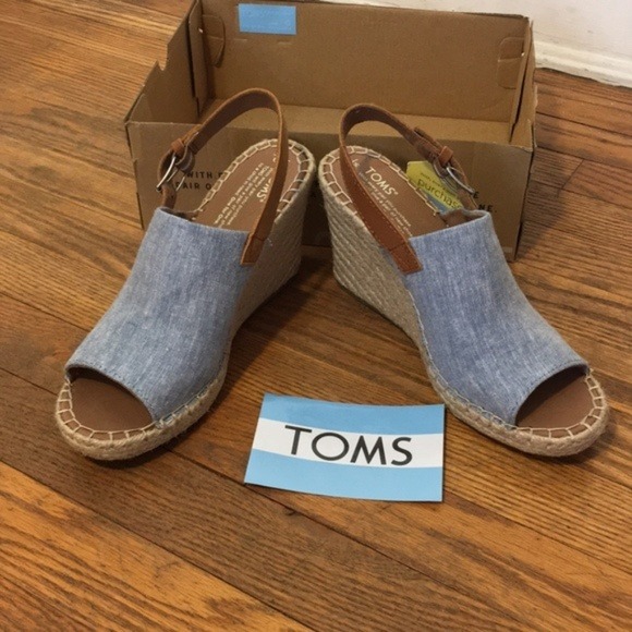 3d659039f76 Toms Monica Chambray Wedge Sandal NWT